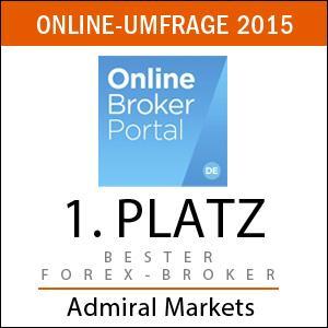 Platz 1 - bester Forex-Broker 2015 Admiral Markets laut Kundenumfrage Onlinebroker-Portal.de