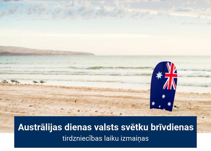 Tirdzniecības laiku izmaiņas Austrālijas dienas brīvdienu laikā