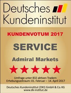 Deutsches Kundeninstitut: Kundenvotum 2017 - 5 Sterne in der Kategorie Service