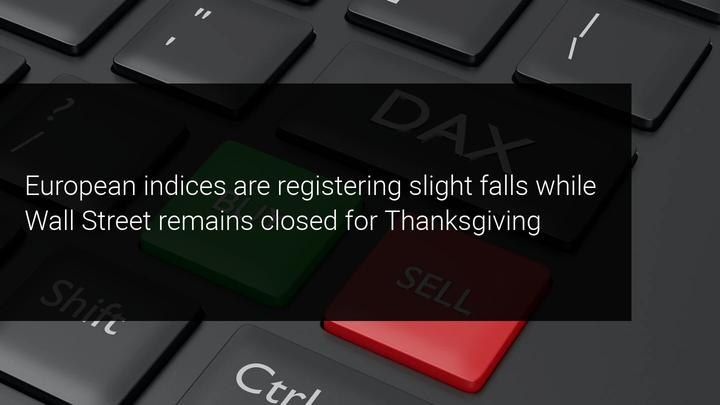 The European indices are registering slight losses on a day with no references from Wall Street