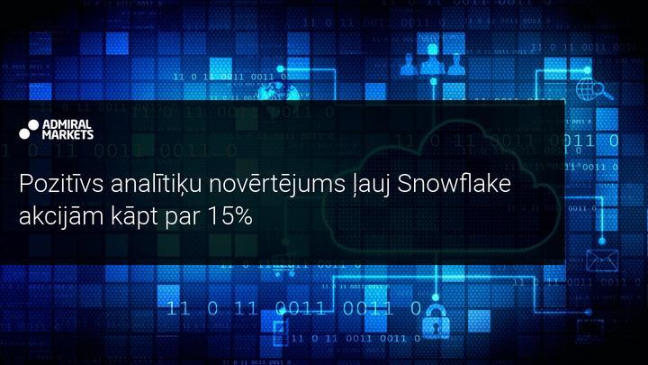 Snowflake akcijām vērtības pieaugums par 15%