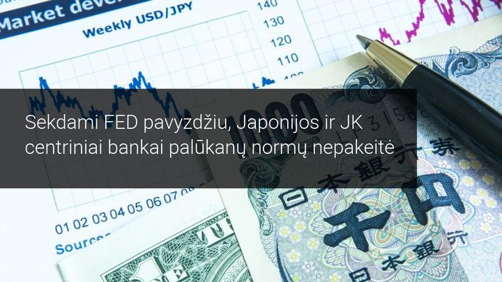 Anglijos bankas ir Japonijos bankas palūkanų normų nepakeitė