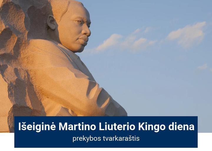 Rinkų prekybos tvarkaraštis JAV Martino Liuterio Kingo dieną