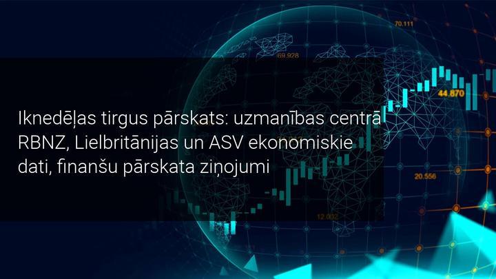 Iknedēļas tirgus pārskats: uzmanības centrā RBNZ, Lielbritānijas un ASV ekonomiskie dati
