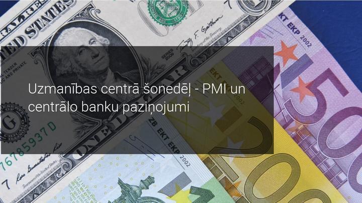 Tirgus pārskats: šonedēļ uzmanība centrālajām bankām un PMI rezultātiem