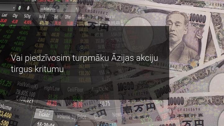 Nenoteiktība ASV ekonomikā un politikā veicina kritumu Āzijas akciju tirgos