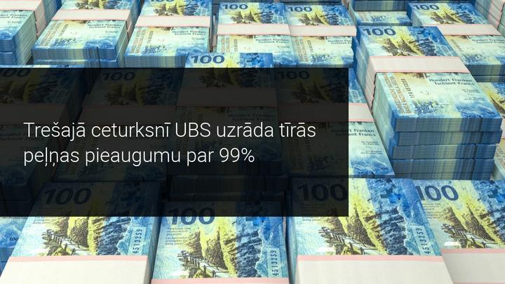 UBS uzrāda iespaidīgu 99% peļņas pieaugumu trešajā ceturksnī