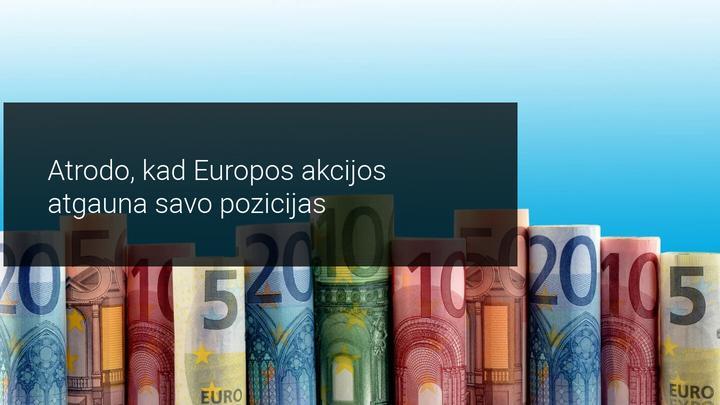 Europos akcijų indeksai konsoliduojasi ir kyla dienos vidury