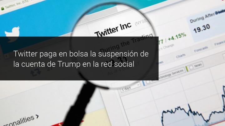 Twitter cae en bolsa tras bloqueo a Trump