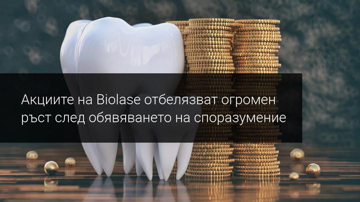 След вчерашното обявяване на споразумение, Biolase направи грандиозно изкачване.