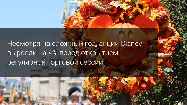 Несмотря на сложный год, акции Disney выросли на 4% перед открытием регулярной торговой сессии.