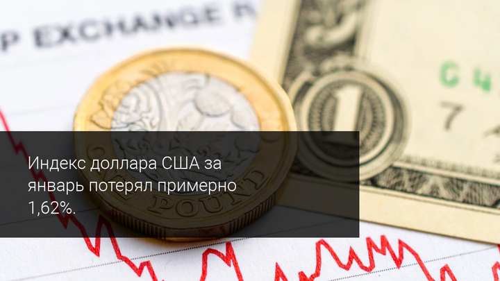 Индекс доллара США за январь потерял примерно 1,62%.