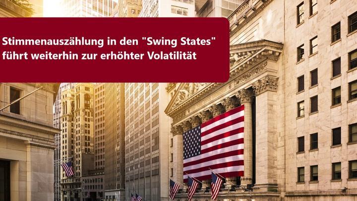 Anhaltende Volatilität aufgrund von Stimmenauszählung in den Swing States