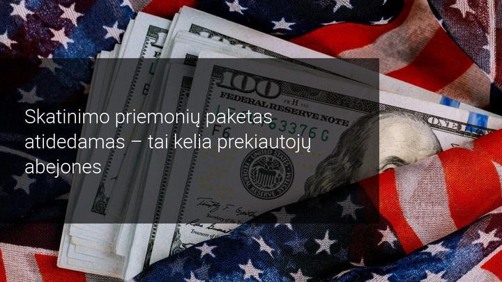 JAV doleris krenta, nes parlamente atidedamas balsavimas dėl 2,2 trilijonų USD skatinimo priemonių paketo