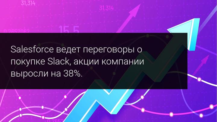 Salesforce ведет переговоры о покупке Slack, акции компании выросли на 38%.