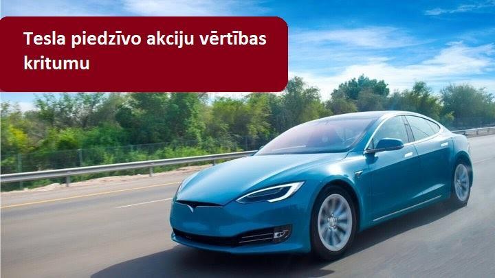 Tesla akciju vērtība piedzīvo ievērojamu kritumu